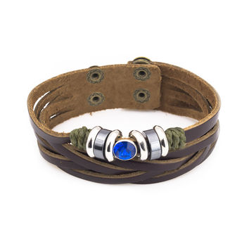 Blue stone stainless steel brown leather bracelet