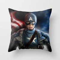 Captain America.... Avengers marvel Digital Painting Throw Pillow by Emiliano Morciano (Ateyo)
