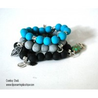 Cowboy Boots and Horse Charm Bracelet, Stackable Bracelets, Teal and Black Bracelet Stack - Blue Morning Expressions