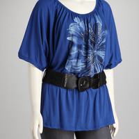 Yummy Royal Blue Belted Plus-Size Top