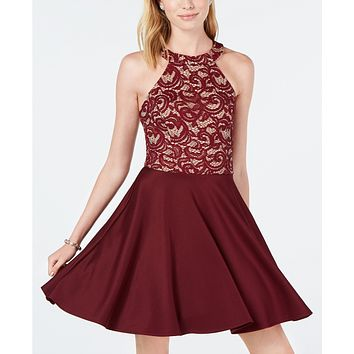B Darlin Juniors Strappy Lace Halter Fit & Flare Dress Size 0