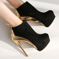 Cheap Price Black Suede Leather Ankle Bootie High Heel Round Toe Gold Heel Club Dress Shoes Desinger Women Pumps