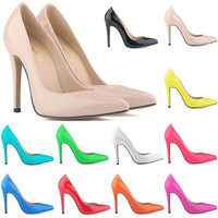 women shoes patent pu high heels pointed corset style work women pumps court shoes