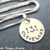 Sterling silver marathon necklace runner jewelry gift for runner personalized marathon jewelry
