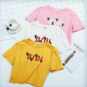 """""""OIOI"""" letters print women top loose tee T-shirt blouse"""
