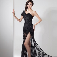 black long prom dress applique sheer one shoulder dress sexy fashion Dresses lace dress party dress open fork simple dress cheap Hand made Dresses Plus size Dresses wedding party dress summer dress = 1956764356