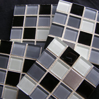 Black, White and Gray Glass and Stainless Steel Coasters
