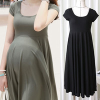 Summer Fashion Maternity Dresses Clothes For Pregnant Women Clothing O-neck Short Sleeve ZD11