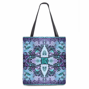 Bohemian Monogrammed Tote Bag with butterflies and roses in violet and aqua