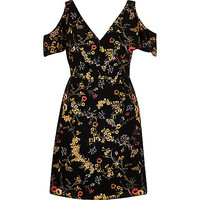 Black floral print cold shoulder dress - skater dresses - dresses - women