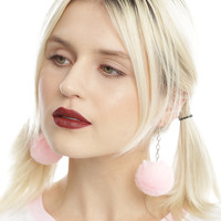 Pastel Pink Puff Ball Earrings