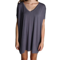 Charcoal Grey Piko Tunic V-Neck Short Sleeve Dress