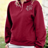 Plain Embroidered Loose Zipper Sweater