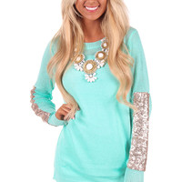Mint Glitter Sleeve Sweater