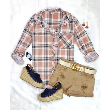What I like about you Plaid Flannel Top - Blush/Ivory