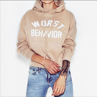 "Women's Fashion Hats ""Worst behavior"" Casual Hoodies [9030908548]"