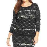 Ing Womens Plus Knit Printed Pullover Sweater
