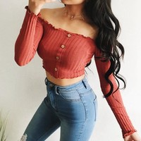 Button Up Off Shoulder Top