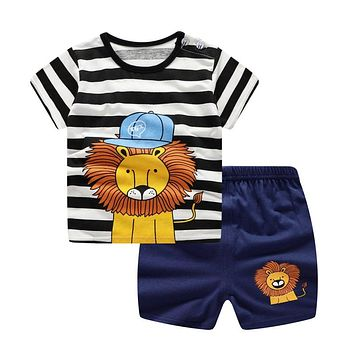Casual Baby Kids Sport Clothing Plaid Lion Clothes Sets for Boys Costumes