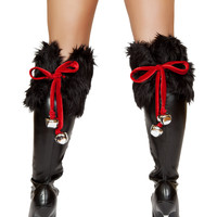 Faux Fur Boot Toppers with Bells
