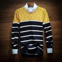 Men's Striped Comfortable Soft Knit Sweater