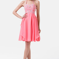Pink Halter Beaded Ruffled Chiffon Homecoming Dress