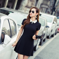 Black Short Sleeve Peter Pan Collar A-line Mini Skater Dress