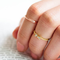 cz ribbon knuckle ring,stacked ring,stackable ring,stacking ring,knuckle ring,mid ring,pinky ring,cubic zirconia ring,RO58N