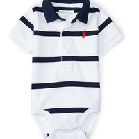 STRIPED COTTON POLO BODYSUIT
