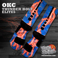 Custom Nike Elite Socks - Freshswagg.com — OKC Thunderbolt Custom Elite Socks