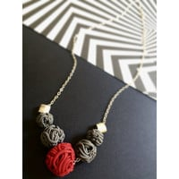 Handmade  Asymetric Grey and Black Marbled Polymer Clay  Necklace