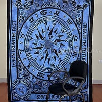 Compass Blue Color Tapestry Indian Wall Hanging Cotton Decor SBS05
