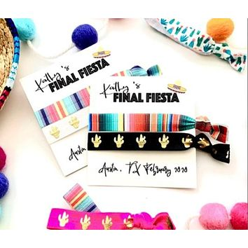 Personalized FINAL FIESTA Hair Tie Favors | Bachelorette Mexican Blanket Party Favor Hair Ties Serape Bachelorette, Cactus