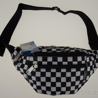 Everest Fanny Waist Pack Black White Square 2 Zipper Compartments Adjustable 57""