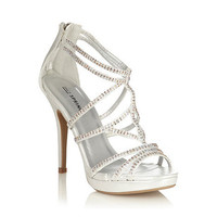 Silver High Heeled Open Toed Sandals With Diamante  Straps at debenhams.com