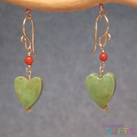 "Red coral linked with green turquoise hearts, 1-1/4"" Earring Gold Or Silver"