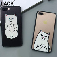 Cute Grumpy Animal Middle Finger Cat Case For iphone 7 Cover For iphone 7PLus 6 6S 5 5S Funny Cartoon Cat Phone Cases Back Cover