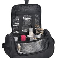 MIER Travel Cosmetic Kit Hanging Organizer Makeup Toiletry Bag for Men and Women, Black