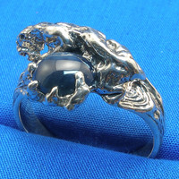 Cougar, Mountain Lion Ring, Natural Blue Star Sapphire, Hand Crafted Recycled Sterling Silver