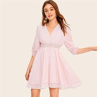 Pink Lace Insert Eyelet Embroidered Panel Swing Mini Dress Women Half Sleeve Dress V Neck High Waist Dresses