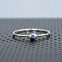 Dainty Sterling Silver Sapphire Mother's Dew Drop Ring