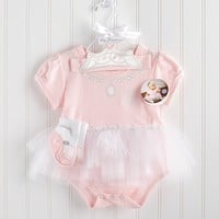 Baby Princess Outfit Gift Set - Bodysuit, Crown, Ballet Slippers & Tutu