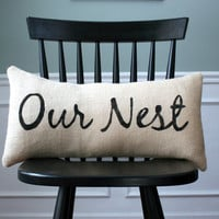 Our Nest Burlap Pillow Cover Home Decor Housewarming Wedding