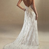 Buy Beautiful Elegant Lace Sheath Halter Wedding Dress In Great Handwork