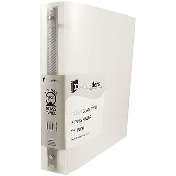 JAM Paper Standard 1.5 in 3-Ring Flexible Poly Binder, Clear Glass Twill