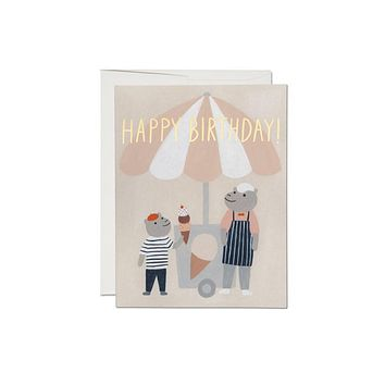 Ice Cream Hippos Foil Birthday Card