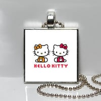 Retro Hello Kitty Twins Square Tile Pendant Necklace or Keychain SALE