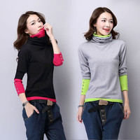 Cashmere Sweater Women Turtleneck Long Sleeve Pullover Ladies sweaters Fashion Female Patchwork Knitted Sweater Female Warm Tops