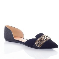 Qupid Twice The Style Chain Accent Pointed Toe Flats - Black
