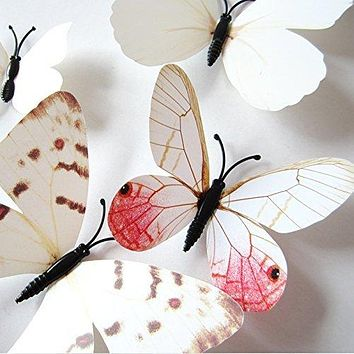 Amaonm 24pcs 3D Vivid Special Man-Made Lively Butterfly Art DIY Decor Wall Stickers Decals Nursery Decoration, Bathroom Décor, Office Décor, 3D Wall Art, 3D Crafts for Wall Art Kids Room Bedroom White 2